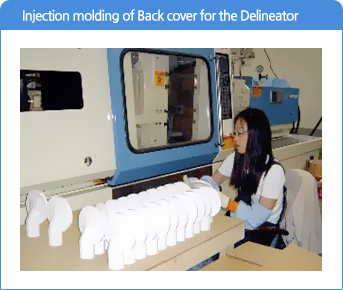 Injection molding of Back cover for the Delineator