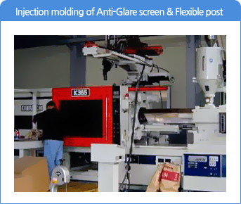 Injection molding of Anti-Glare screen & Flexible post